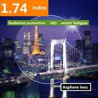 Thiner 높은 인덱스 1.74 명확한 비구면 수지 렌즈 렌즈 HMC, Asphere 처방 렌즈 근시/원시/노안 2