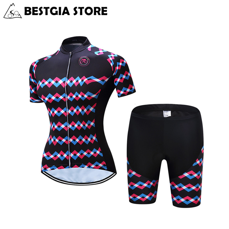 New Brand Women Cycling Jersey Set Bicycle Summer Maillot Road Track Bike Clothing Quick Dry MTB Polyester Short Sleeve Clothes