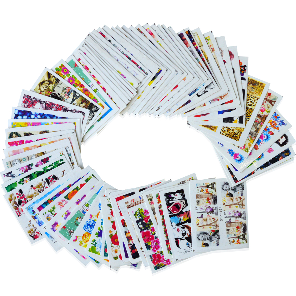64Sheets Water Transfer Nail Sticker Full Cover Flowers Sexy Women