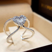 Leading fashion personality simple and elegant crystal Rings Silver double Heart shapes Zircon ring silver color D30