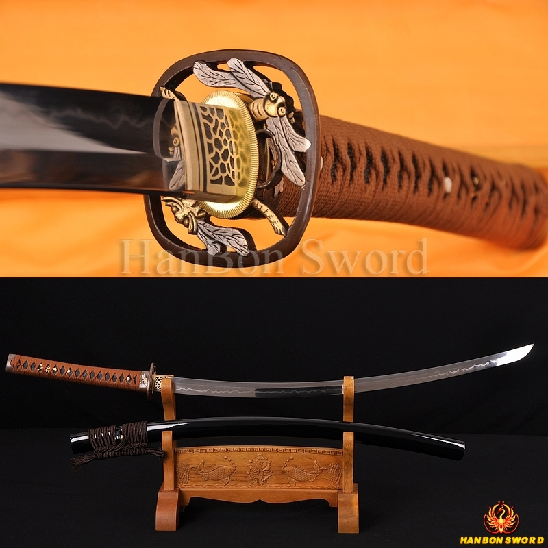 """Ručně kovaný nejkvalitnější japonský meč Samurai KATANA Hliněný temperovaný 1095 ocel 1,26 """"SORI FULL TANG BLADE DRAGONFLY KOSHIRAE"""