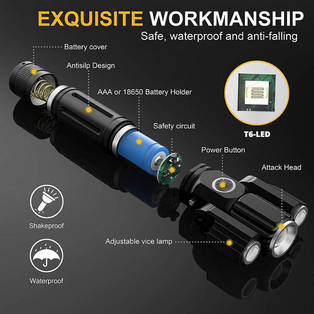 Deformable LED Flashlight Super bright Torch 1T6+2XPE Zoomable 4 lighting modes Powered by 18650 battery For camping, hunting 2