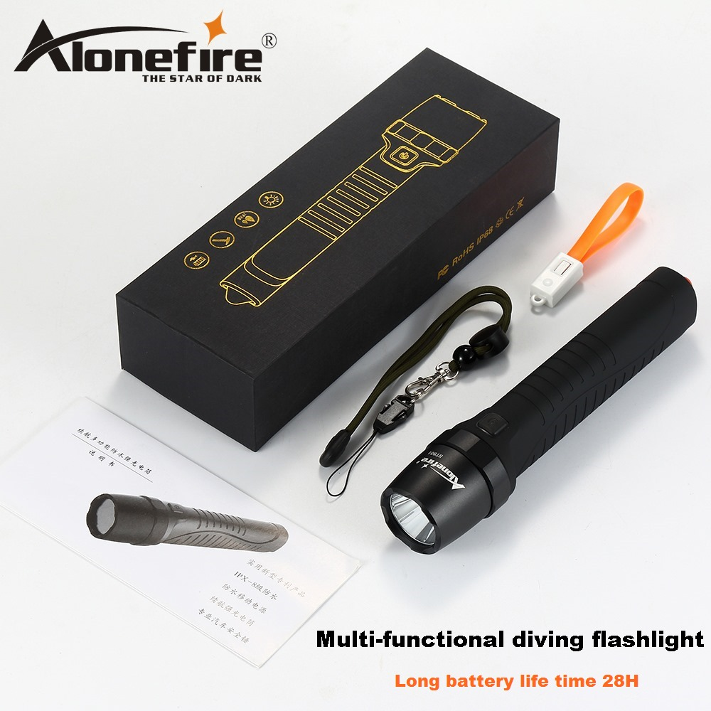 цены AloneFire HT801 Multi-functional CREE LED Flashlight Diving Flashlight Power Bank Torch with Safety Hammer for Camping Hiking