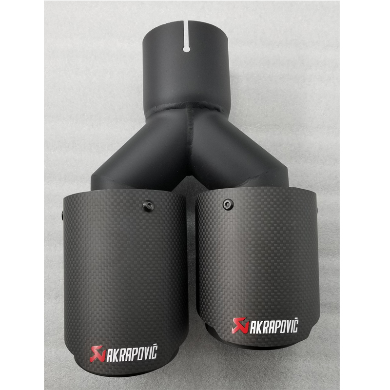 Black Pipe Of Different Size Dual Carbon fiber stainless steel universal Auto Akrapovic exhaust tip Exhaust muffler Tip free shipping 1pcs dual akrapovic stainless steel exhaust tip exhaust pipe tail quad ak exhaust muffler tip