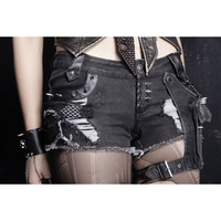 Punk Rave Rock Hot Shorts Visual Kei Cotton Heavy Metal Chain Jeans short pants S 3XL K127