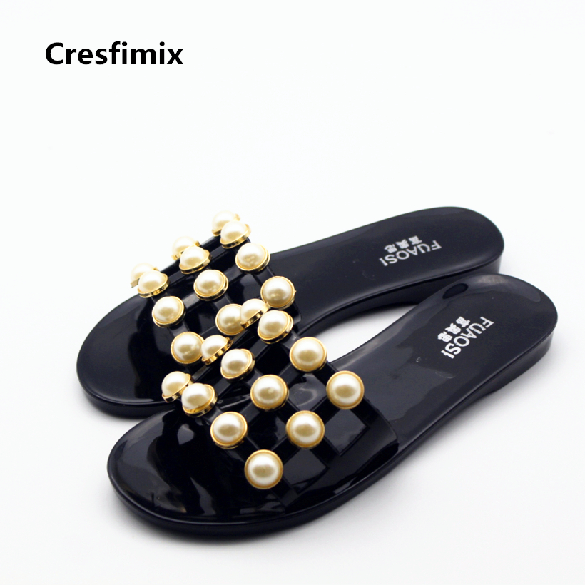 Cresfimix zapatillas de mujer women cute spring summer slip on slippers female floral and pearl decoration slippers lady slides cresfimix women cute spring