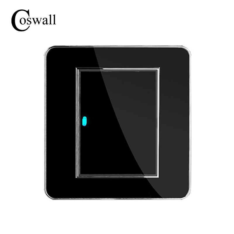 Coswall Brand New Arrival 1 Gang 1 Way Random Click Push Button Wall Light Switch With LED Indicator Acrylic Crystal Panel wholesale luxurious wall light switch random click push button with led indicator 1 gang 1 way ac 110 250v stainless steel panel