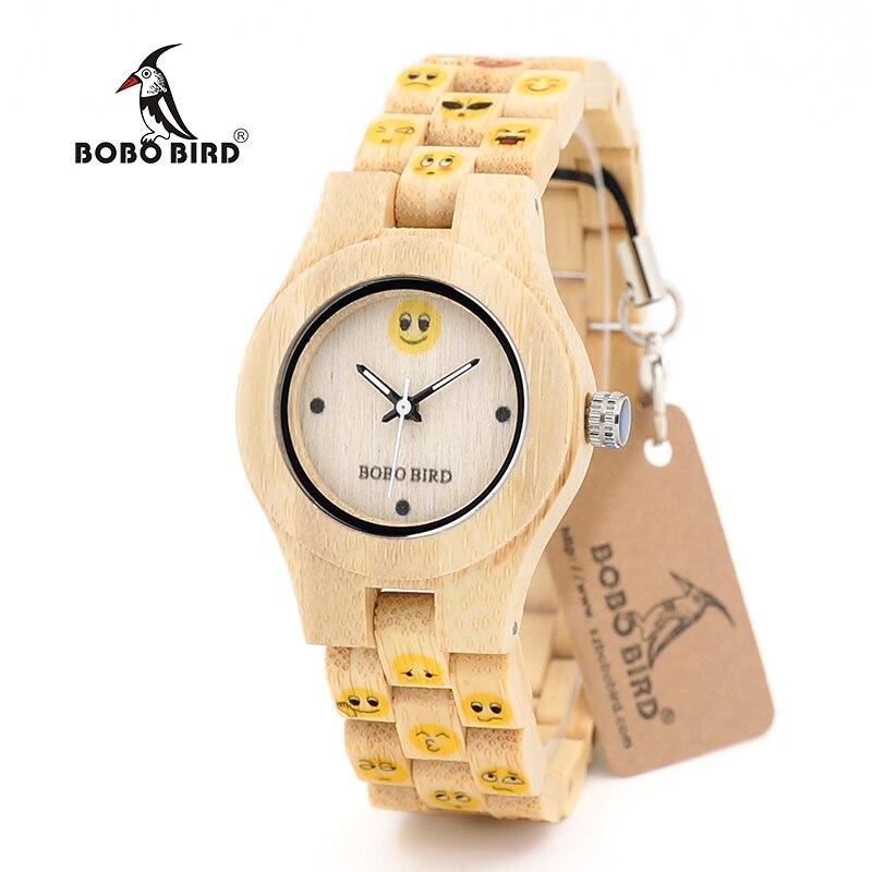 75d6acd2cd6 BOBO PÁSSARO C O06 Emocional Rosto Mulheres Relógio De Madeira Cor Amarela  Designer Relógio para Senhoras Drop Shipping em Mulheres Relógios de  Relógios no ...