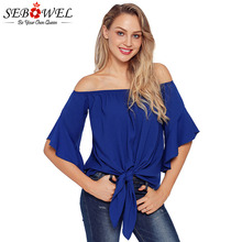 SEBOWEL Summer Off The Shoulder Knot Tie Blouses and Shirts Woman 2019 New Casual Ruffles Sleeve Slash Neck Lace Up Female Tops