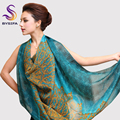 Female peacock blue Silk Scarf Shawl Fashion Mulberry Silk Large Square Silk Scarves All-Match Women Silk Muffler 135*135cm