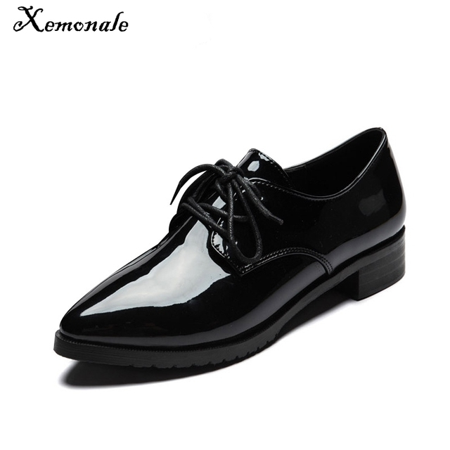 Xemonale 2017 Patent Leather Women Oxfords Shoes Spring Pointed Toe  Platfrom Flats Low Heels Ladies Casual