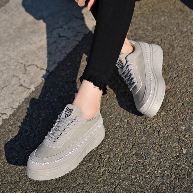 Fooraabo 2017 Spring Women Flat Platform Shoes Solid Comfortable Women Casual Shoes New Fashion Lace Up Ladies Shoes Espadrilles