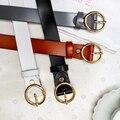 2016 Nuevos Cinturones de Diseño para Las Mujeres de Moda de Cuero Genuino correa Del Vestido de la Mujer de La Vendimia círculo Hebilla Cinturones de Cintura femenina