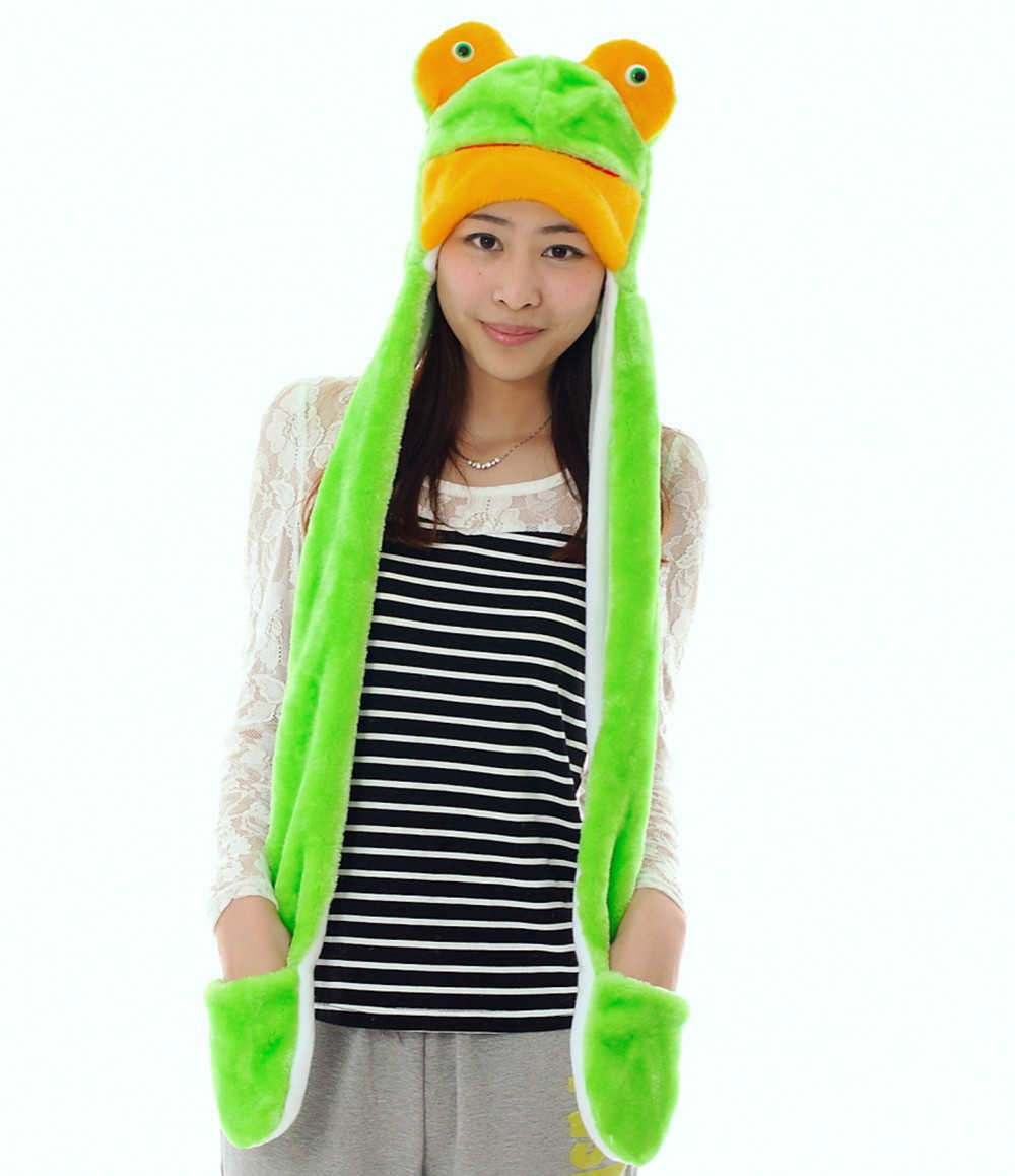 Doubchow Cute Plush Animal Green Frog Hats With Paws Gloves Adults Womens Mens Teenagers Kids Girls Boys Winter Cosplay Beanie Cheapest Price From Our Site Men's Hats