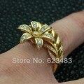Envío Gratis Sólido 14 k oro amarillo. inusual único diseño de la flor anillo