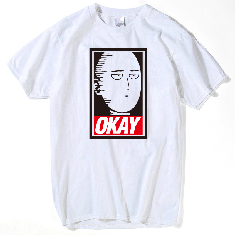 Saitama Oppai t shirt men One Punch Man Hero T-shirt men tops 2018 Fashion Cartoon Short Sleeve OKAY summer tops for women 2018