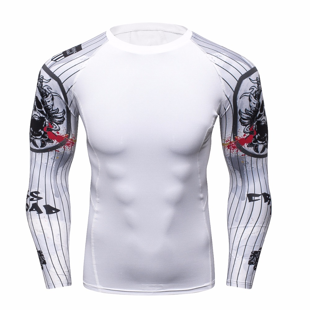 Cool Men Compression Fitness Long Sleeves Shirts Base Layer Skin Tight Weight Lifting T Shirts Bodybuild Crossfit Tight t-shirt