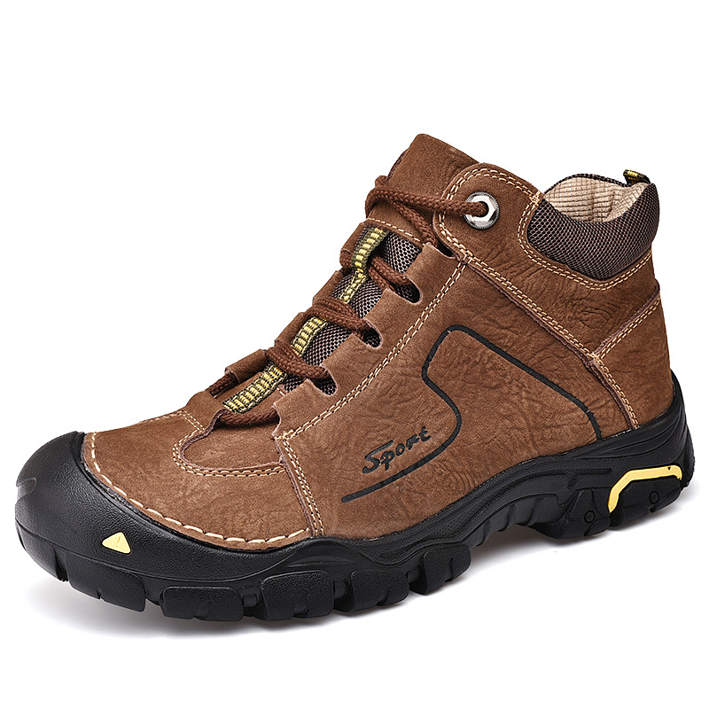 US $43.21 52% OFF|Top Men's cowhide hiking boots shoes male outdoor trekking shoe Mountain sneakers genuine leather men waterproof climbing shoes in