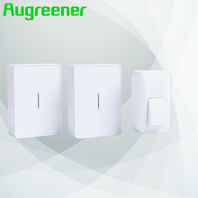 Augreener bell door wireless home tones 1 button 2 receivers buttons waterproof free shipping no battery doorbell(China)