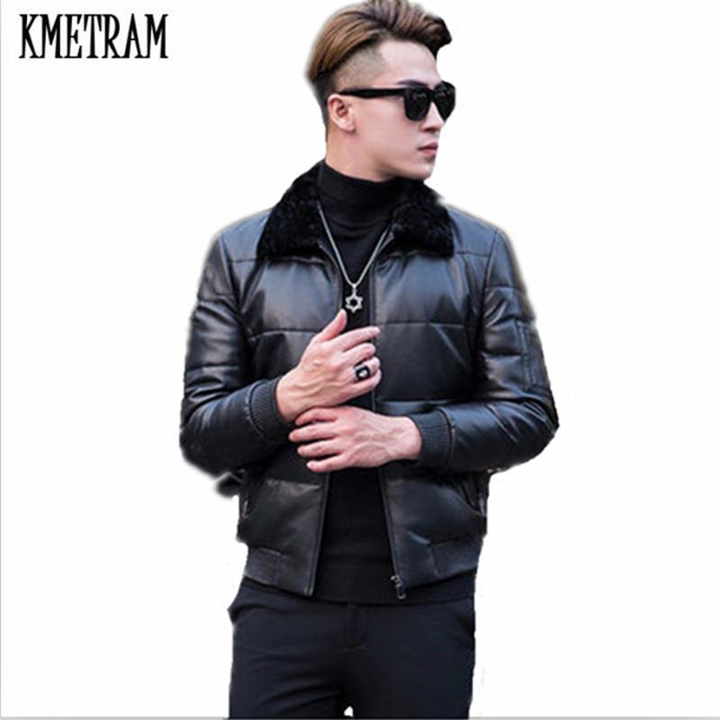 KMETRAM 2019, высокое качество, кожаный пуховик, мужской, роскошный, натуральная кожа, мужские s 100%, овчина, зимняя куртка, черный, 4XL, куртка, HH509