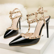2019 New Rivet Double Buckle Fashion Women Sandals High Heels Pointed Cut-Outs P