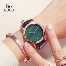 GUOU Women Watches Top Luxury simple style Fashion Watch double pin with calendar wild Ladies Leather quartz Wrist Watch Relojes цена