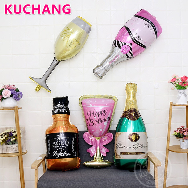 1pc Bachelorette Party Pink Champagne Bottle Glass Foil Balloon Decor Photo Booth Prop Celebration Wedding Hen Party Supplies
