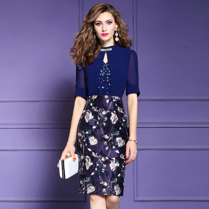 Office Lady Pencil dress Spring 2019 new Women Beading OL Occupation Party Dress Plus Size Knee