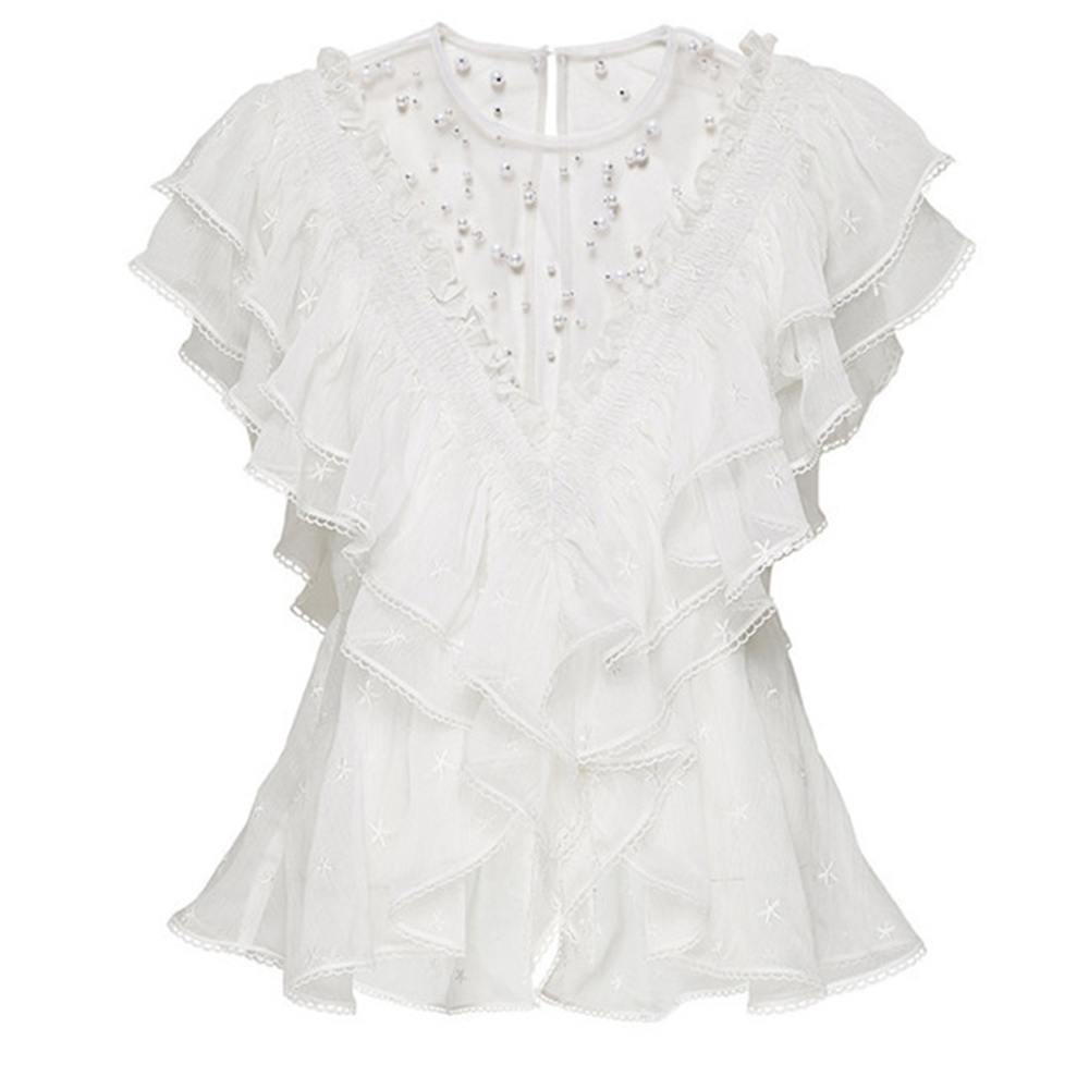 FTGSDLONG 2019 Summer New Pearls Blouses O Neck Print Lace Chiffon Shirt Batterfly Sleeve Blouse Fashion Office Lady White in Blouses amp Shirts from Women 39 s Clothing