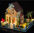 Love Villa Nordic style Large DIY Doll house 3D Miniature LED light+Wood&Metal assembled Handmade kit Building model Big size