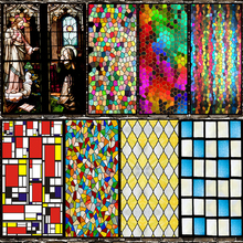 1 Roll Church Stained Glass Adhesive Film Privacy Window Frosted Heat Transfer Vinyl for Decoration