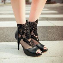 Frühling und sommer dünne Fersen Schuhe mit hohen absätzen spitze offene spitze der einzelnen Schuhe reticularis prinzessin sexy ultra High Heels schuhe partei