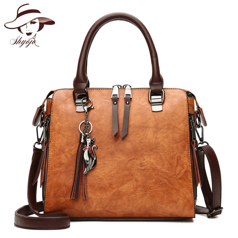 eac69a46cf2e US $20.47 37% OFF|Hot Sale Cat Tassel Double Zipper Shell Women Shoulder  Bags Casual Solid Color Leather Crossbody Handbag Ladies Messenger Tote-in  ...