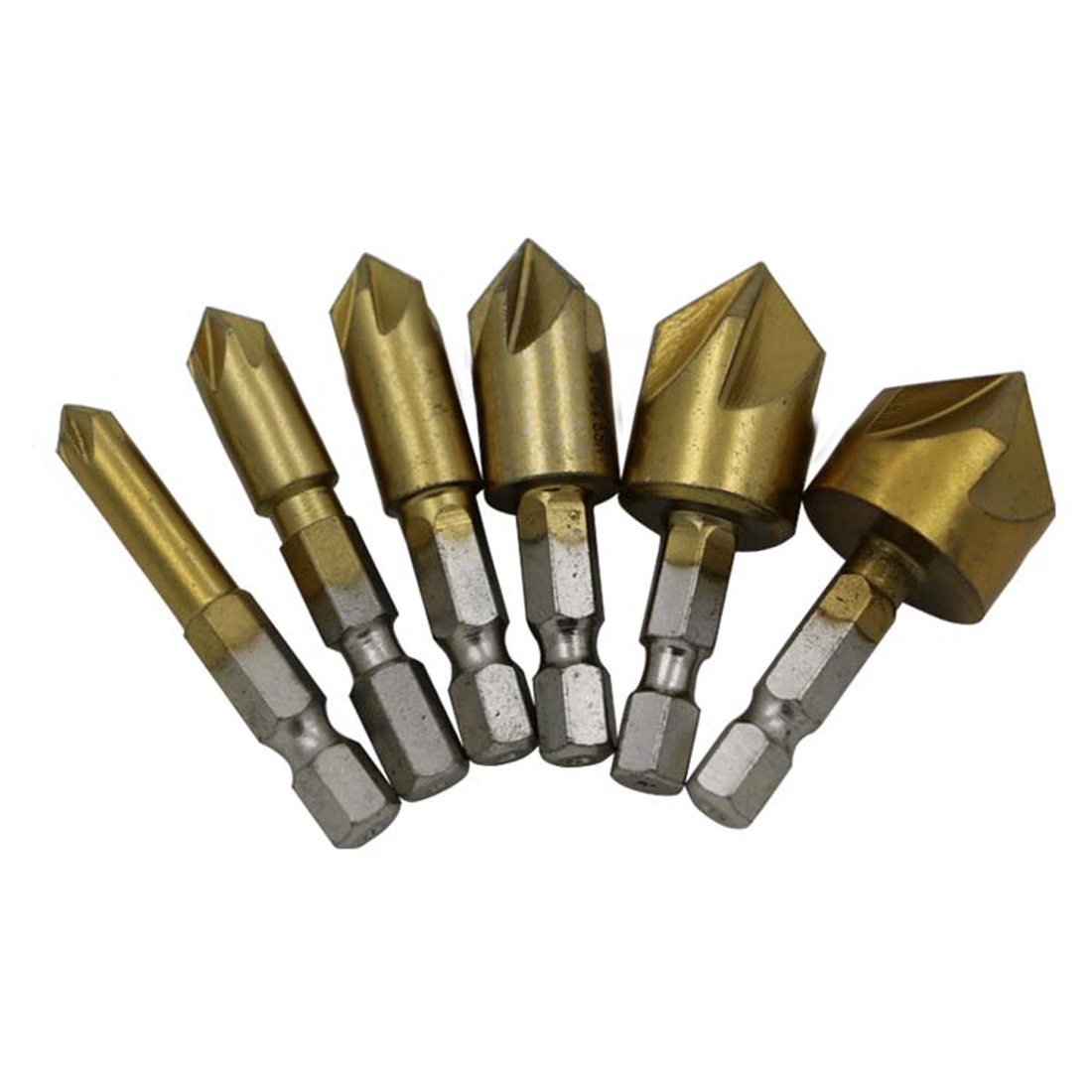 5 Flute Chamfer Countersink 6PCS 6mm-19mm Countersink Drill Bit 1/4 Hex Shank 90 Degree Wood Chamfering Cutter drill guide round shank 6pcs 3 flute 90 degree hss chamfer chamfering cutter end mill tool countersink drill bit set 6 3 20 5mm