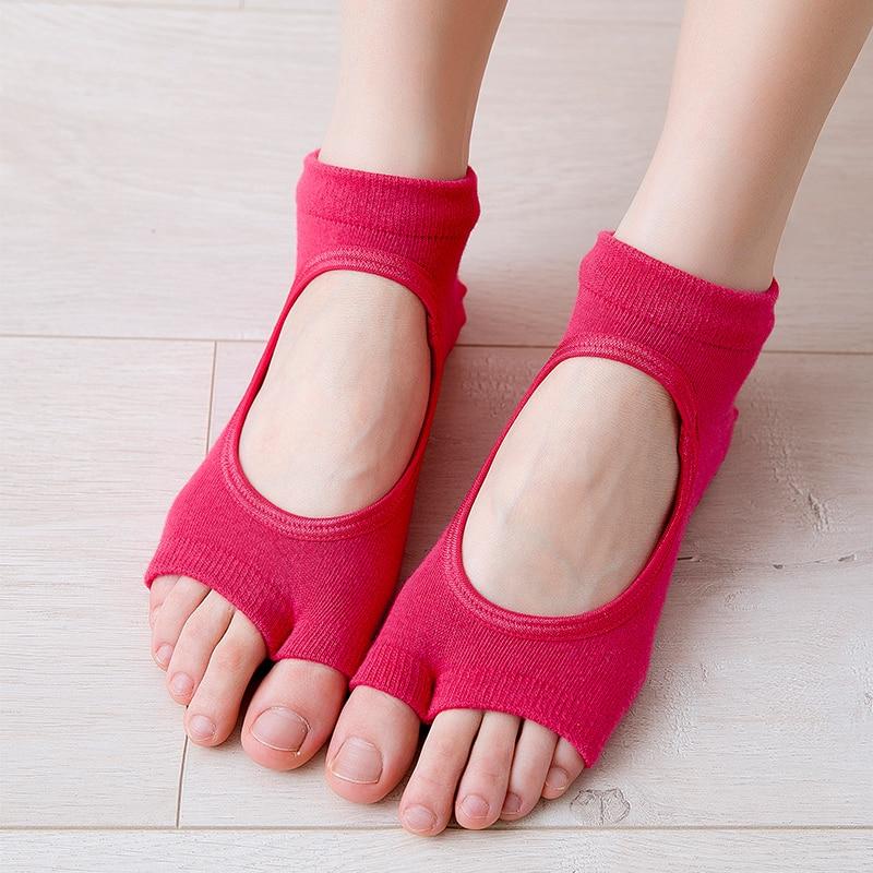 Новинка; женские, не скользящие носки для йоги с двумя спортивный костюм для девочек из хлопка пилатес носок вентиляции быстросохнущие бале...