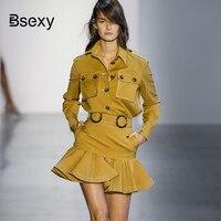 Runway Blouse Skirt Sets 2018 Autumn 2 pieces Set Women Yellow Pockets Long Sleeve Shirt Crop top And Ruffle Mini Skirt Sets