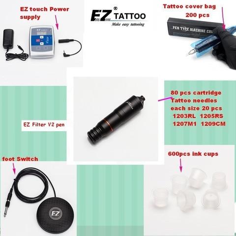 ez kits de fornecimento de tatuagem ez filtro v2 caneta cartucho withez agulhas tatuagem pe