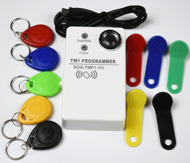 TM RFID Copier Duplicator handheld RW1990 TM1990 TM1990B ibutton DS 1990A I Button 125KHz EM4305 T5577 EM4100 TM card Reader