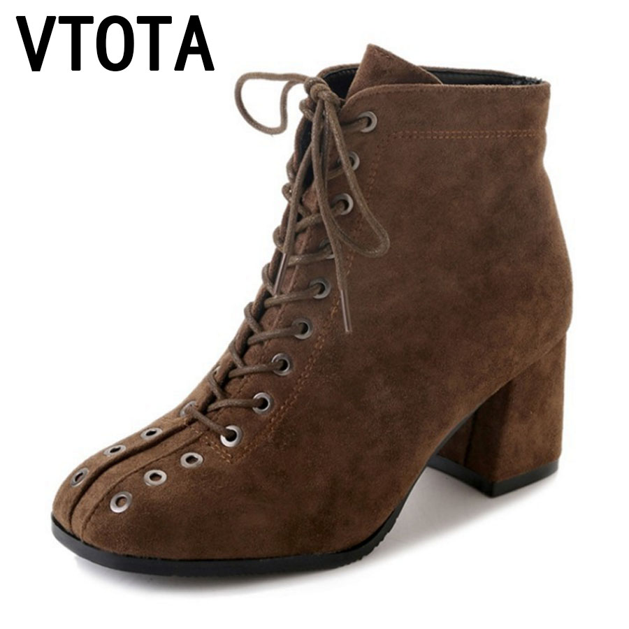 VTOTA Ankle Boots For Women Lace-Up Autumn Boots Ankle Boots Sapato Feminino 2017 Winter Botas Mujer High Heels Shoes Women E72 e toy word bullock ankle boots for women autumn increase lace up martin boots british retro boots winter high help botas mujer