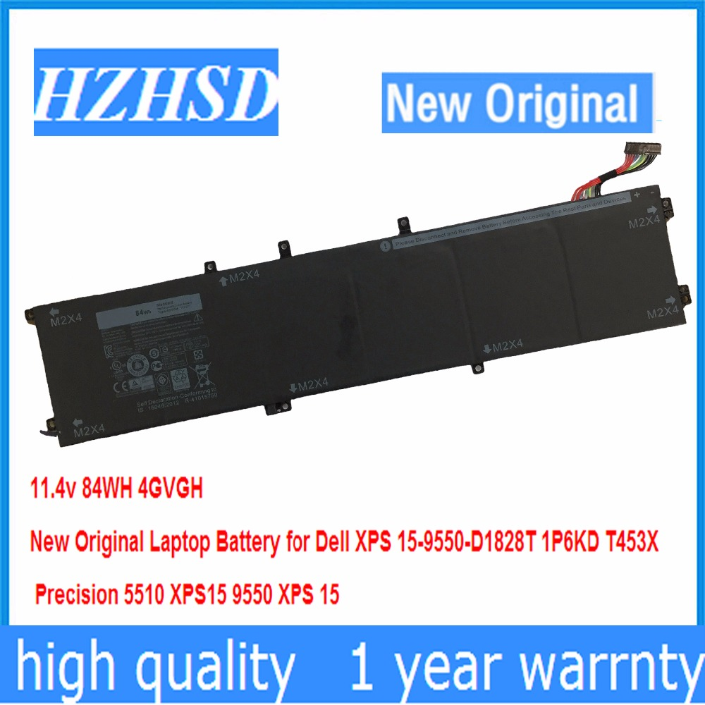11.4v 84WH New Original 4GVGH Laptop Battery for Dell XPS 15-9550-D1828T 1P6KD T453X Precision 5510 XPS15 9550 XPS 15 цена