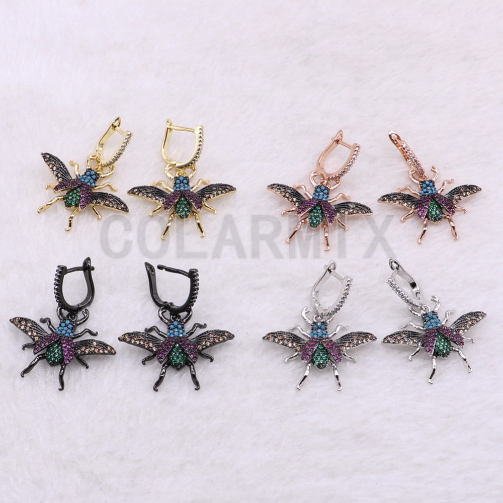 3 Pairs Tiny fly bugs earrings fashion Mix color metal bugs Micro pave zircon inset hook earrings Jewelry earrings for lady 3764