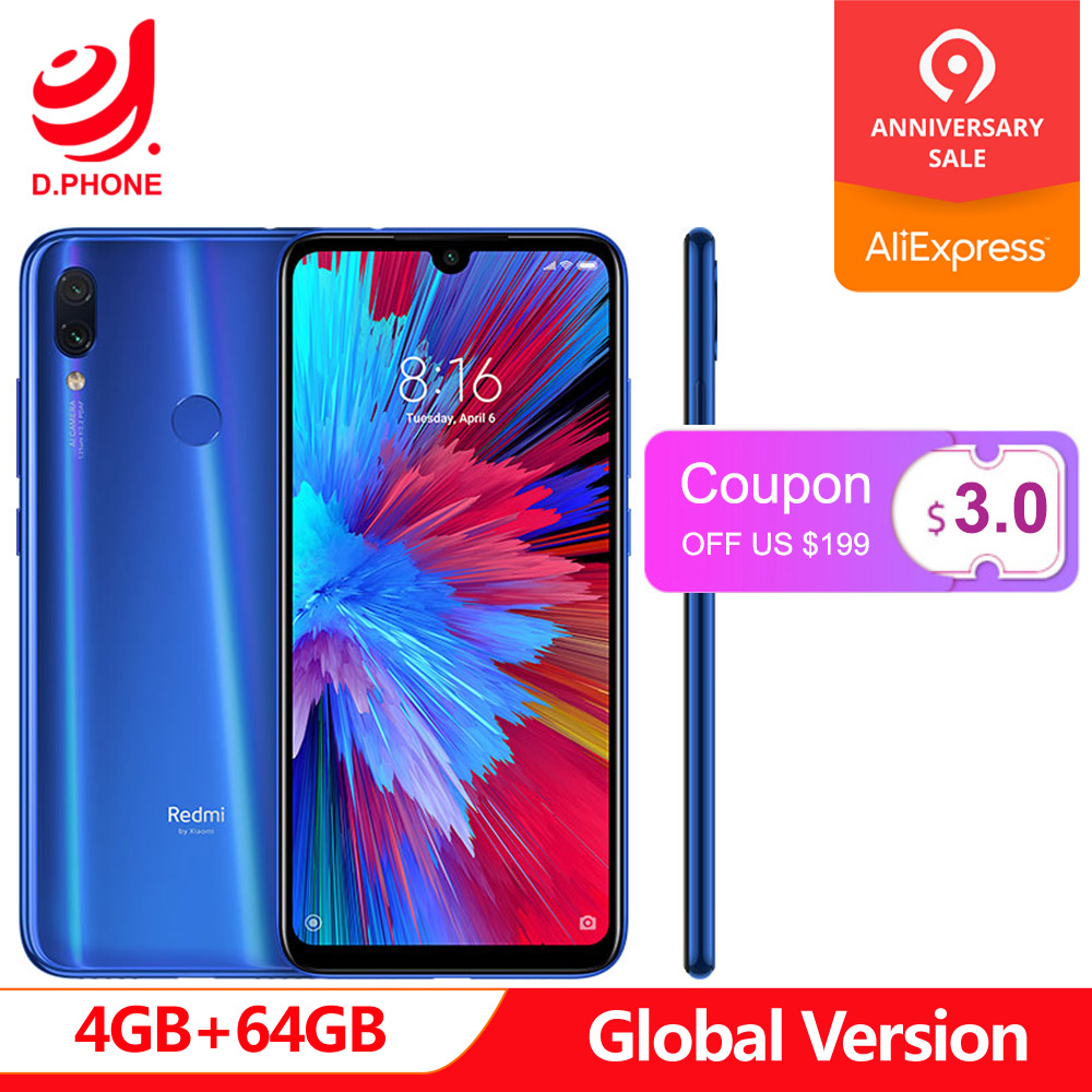 "In Stock Global Version Xiaomi Redmi Note 7 6.3"" Full Screen Snapdragon 660 AIE 4GB RAM 64GB ROM 4G LTE Smartphone 48MP Phone"