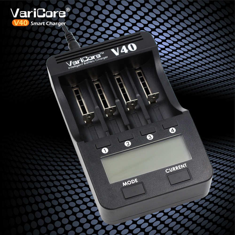 VariCore V40 3.7 فولت 18650 26650 18350 16340 18500 25500 10440 17500 21700 NiMH 1.2 فولت AA AAA 5 فولت الناتج LCD شاحن بطاريات ذكي