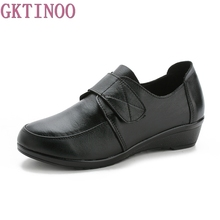 2017 nueva moda de los altos talones bombas de las mujeres zapatos de cuña mujer solos zapatos casuales de cuero genuino zapatos de las mujeres