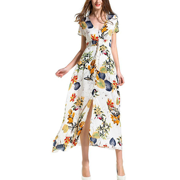 2019 Long Dress Femme Plus Size Dresses Summer Dress Vestidos Robe Femme Ete Elegant Print Robe Boho Sexy Casual Beach Платье