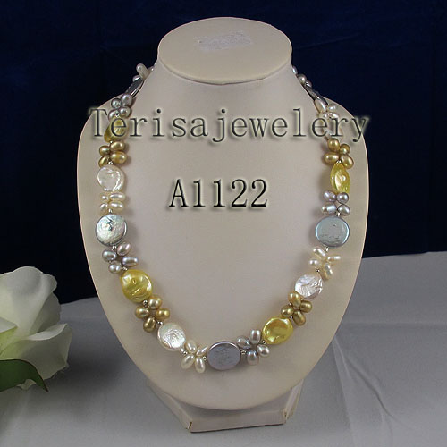Collier de perles fait main multicolore véritable collier de perles d'eau douce pièce de monnaie naturelle et bijoux de perles de riz fermoir aimanté de 18 pouces