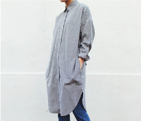 2016 Spring Vintage Women Shirts Striped Sibuya Japanese Long Shaft Blouse Shirt Gray 292