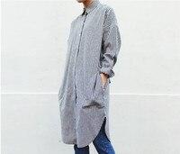 2016 Spring Vintage Women Shirts Striped Sibuya Japanese Long Shaft Blouse Shirt Gray 292