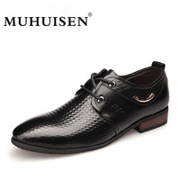 100 Genuine Leather Mens Dress Shoes High Quality Oxford Shoes Lace Up Business Male Shoes MUHUISEN