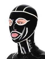 Realistic Latex Mask Open Eyes and Nostrils Rubber Unisex Hood Unique Club Wear Black and White Stripes Latex mask